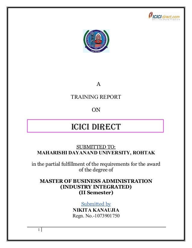 summer training at icici direct Free download mba project on study of tax saving schemes in mutual funds in icici prudential life insurance co ltd  a summer training  direct.