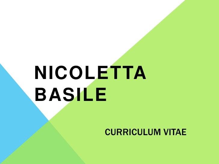 NICOLETTABASILE     CURRICULUM VITAE