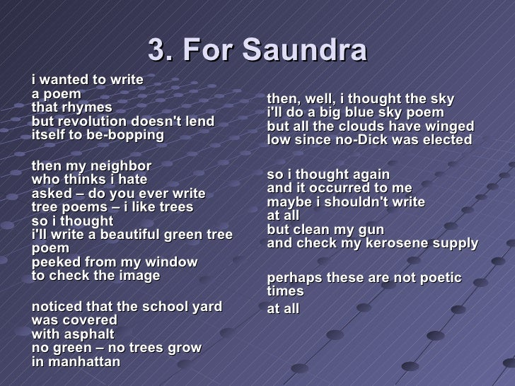 for saundra by nikki giovanni analysis For saundra by nikki giovanni analysis an analysis of the use of social criticism in great expectations by charles dickens and the great ga.