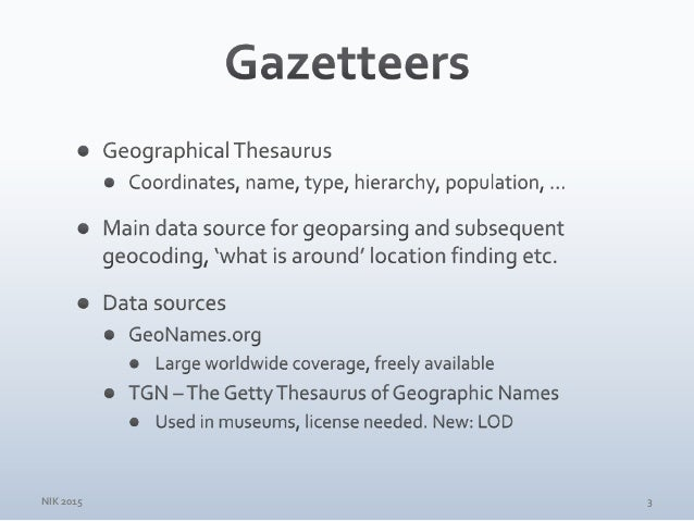 Surveying GeoNames Gazetteer Data for the Nordic Countries Slide 3