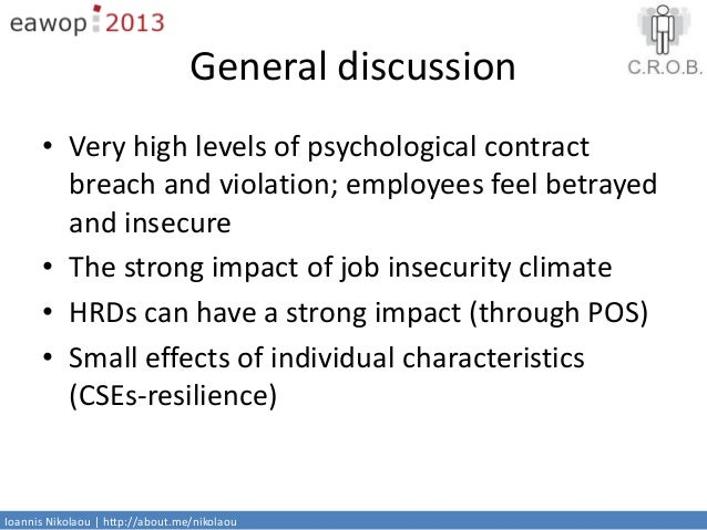 psychological contract breach effects and violation on employees Effect of human resource management practices on psychological  between employees and their  contributors to psychological contract violation.