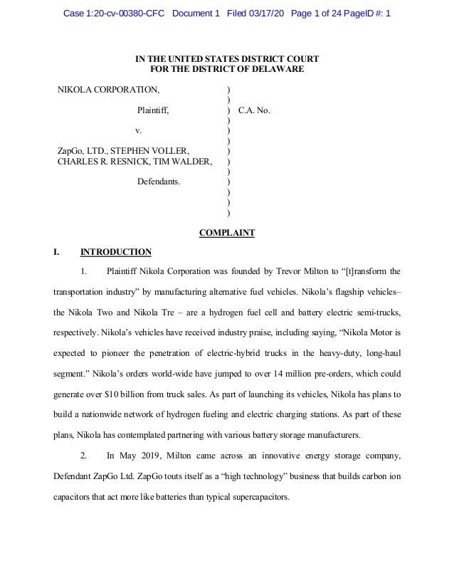 IN THE UNITED STATES DISTRICT COURT FOR THE DISTRICT OF DELAWARE NIKOLA CORPORATION, Plaintiff, v. ZapGo, LTD., STEPHEN VO...
