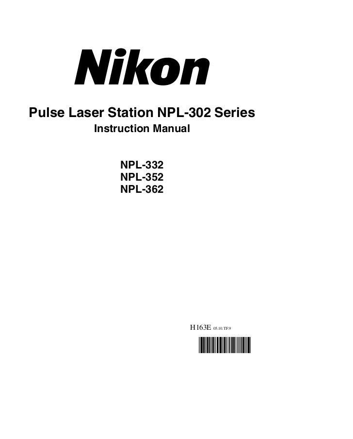 Pulse Laser Station NPL-302 Series         Instruction Manual             NPL-332             NPL-352             NPL-362 ...