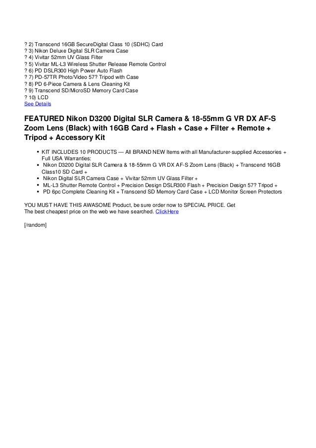 Nikon D3200 Digitalslrcamera18 55mmgvrdxaf Szoomlensblack
