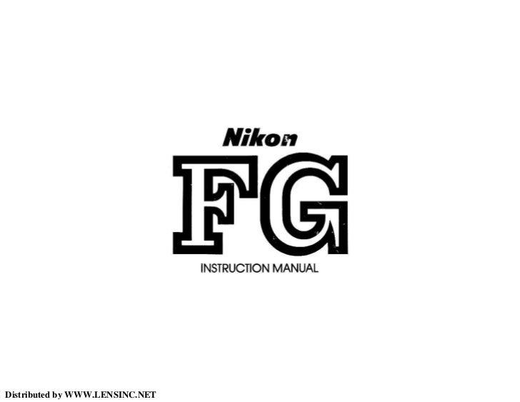 Nikon FG manual