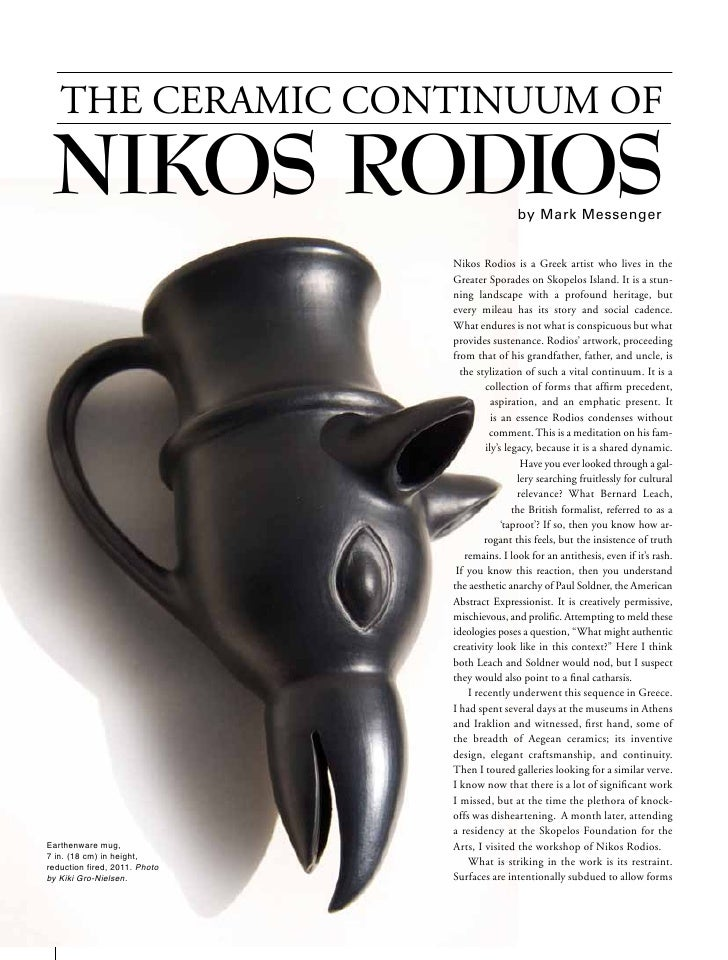 THE CERAMIC CONTINUUM OF     NIKOS RODIOS                                                by Mark Messenger                ...