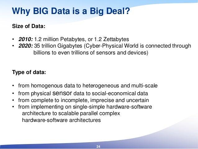 Why BIG Data is a Big Deal? Size of Data: • 2010: 1.2 million Petabytes, or 1.2 Zettabytes • 2020: 35 trillion Gigabytes (...
