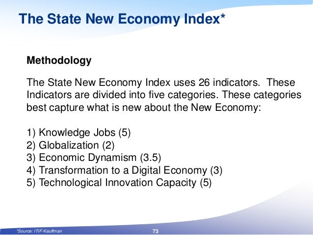 The State New Economy Index* Methodology The State New Economy Index uses 26 indicators. These Indicators are divided into...