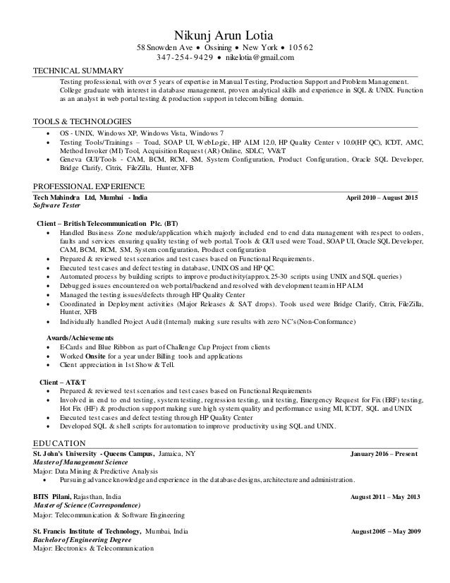 Nikunj Arun Lotia Resume Data Analyst