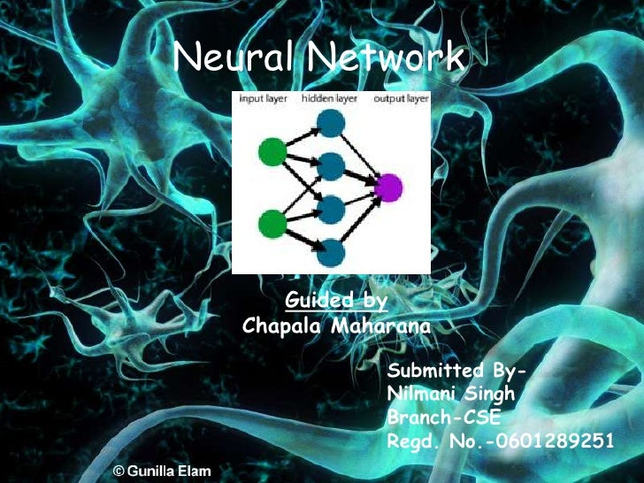 Neural Network<br />Guided by<br />Chapala Maharana<br />Submitted By-<br />Nilmani Singh<br />Branch-CSE<br />Regd. No.-0...