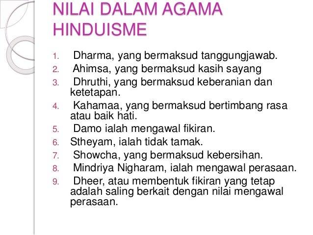 NILAI DALAM AGAMA HINDUISME 1. Dharma, yang bermaksud tanggungjawab. 2. Ahimsa, yang bermaksud kasih sayang 3. Dhruthi, ya...