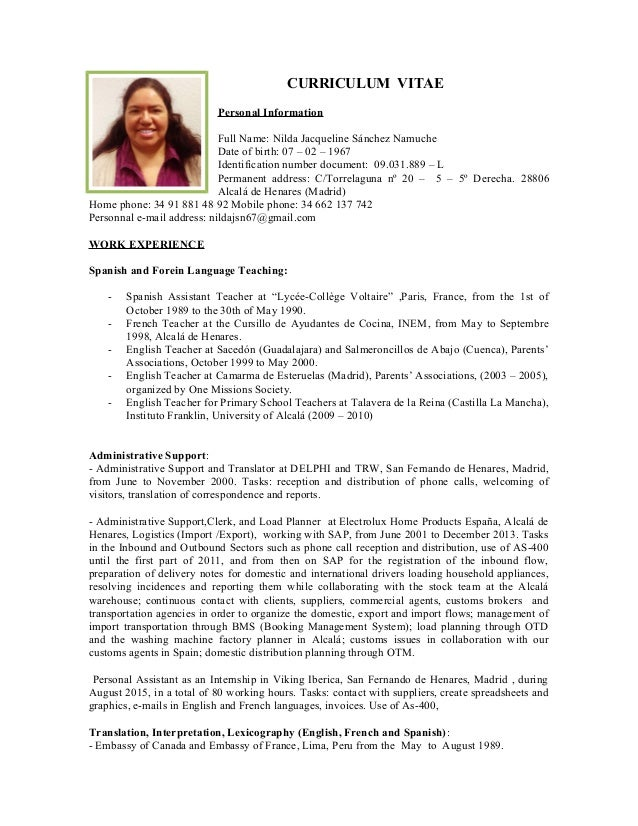 nilda resume english curriculum vitae personal information full name nilda jacqueline snchez namuche date of birth 07
