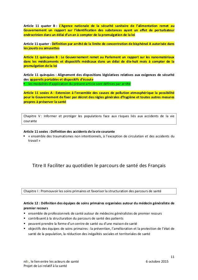 11 nile, le lien entre les acteurs de santé 6 octobre 2015 Projet de Loi relatif à la santé Article 11 quater B : L'Agence...