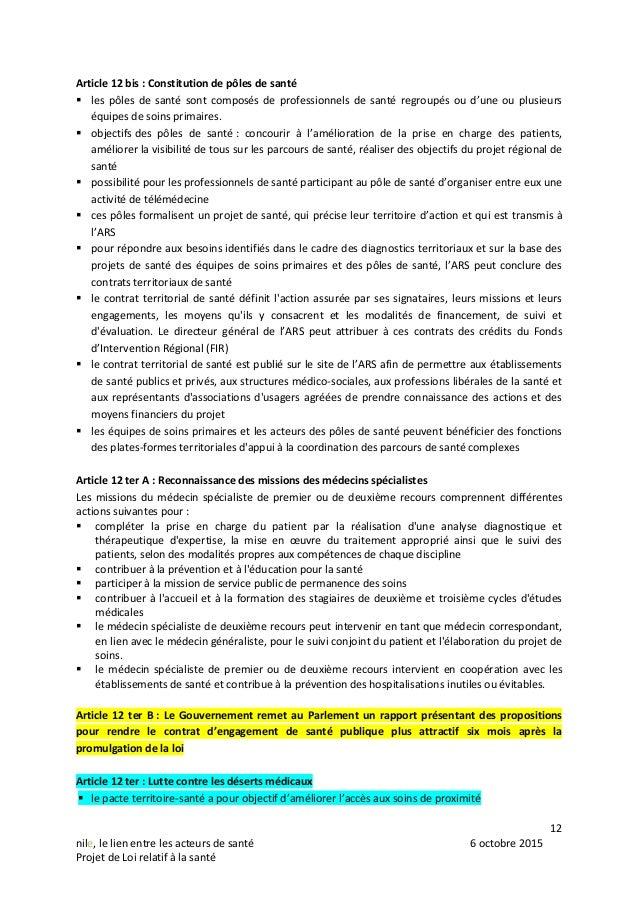 12 nile, le lien entre les acteurs de santé 6 octobre 2015 Projet de Loi relatif à la santé Article 12 bis : Constitution ...