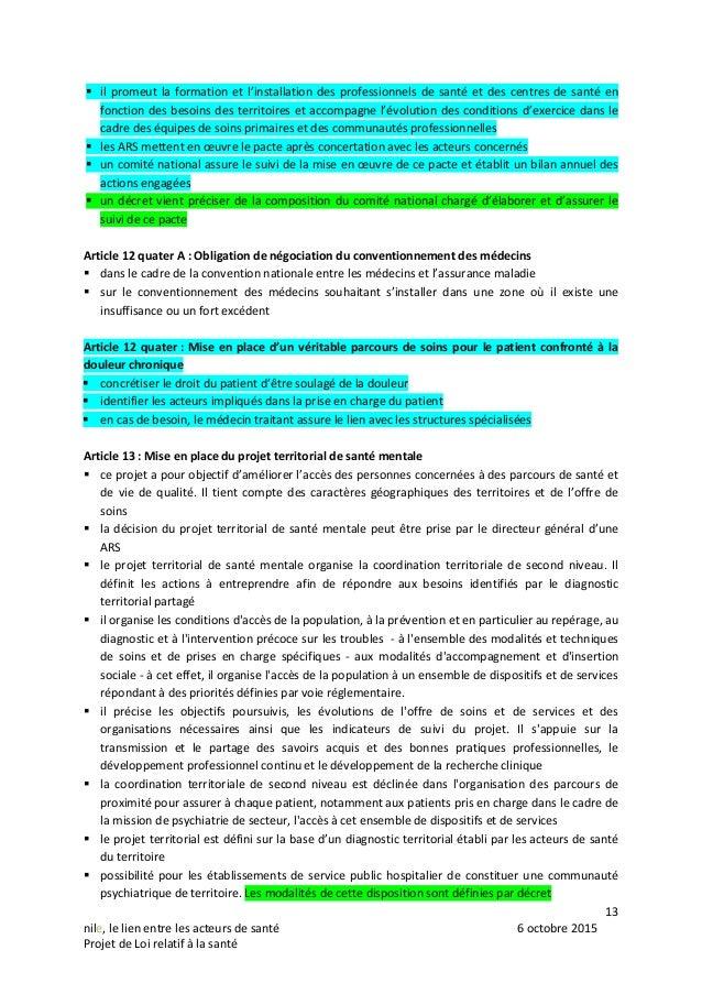 13 nile, le lien entre les acteurs de santé 6 octobre 2015 Projet de Loi relatif à la santé  il promeut la formation et l...
