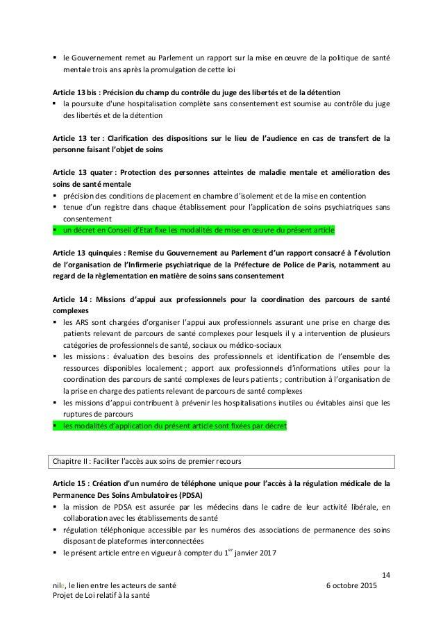 14 nile, le lien entre les acteurs de santé 6 octobre 2015 Projet de Loi relatif à la santé  le Gouvernement remet au Par...