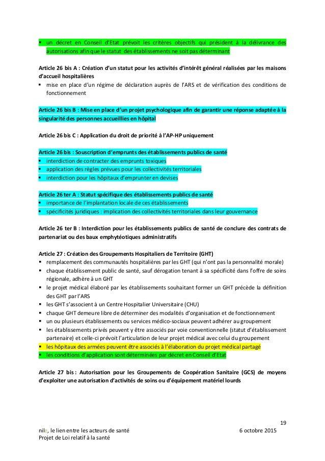 19 nile, le lien entre les acteurs de santé 6 octobre 2015 Projet de Loi relatif à la santé  un décret en Conseil d'Etat ...