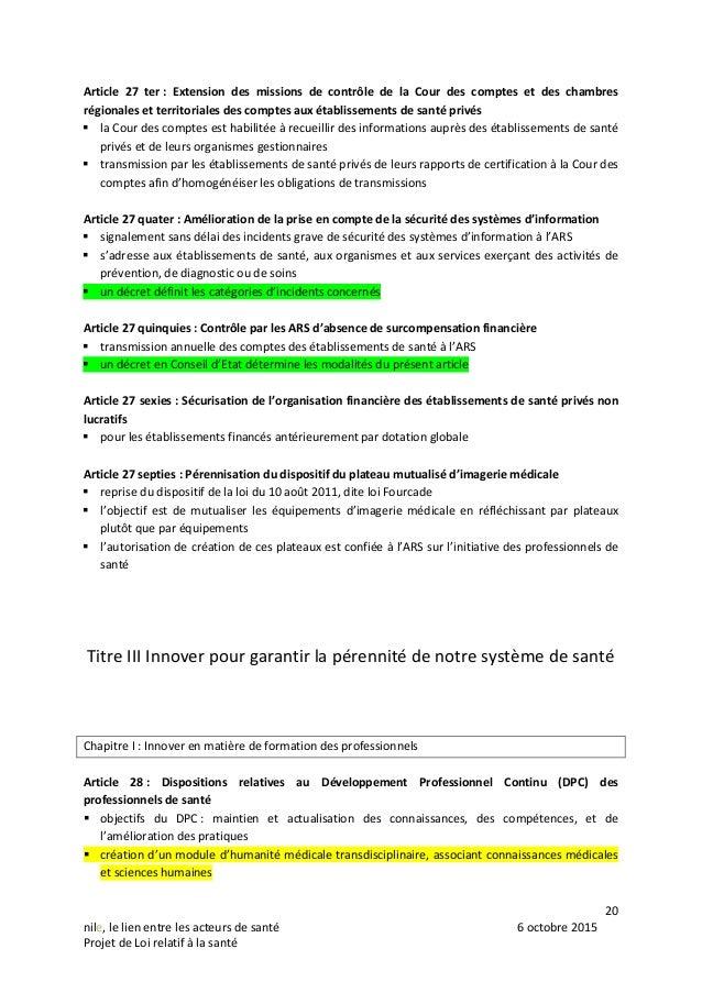 20 nile, le lien entre les acteurs de santé 6 octobre 2015 Projet de Loi relatif à la santé Article 27 ter : Extension des...