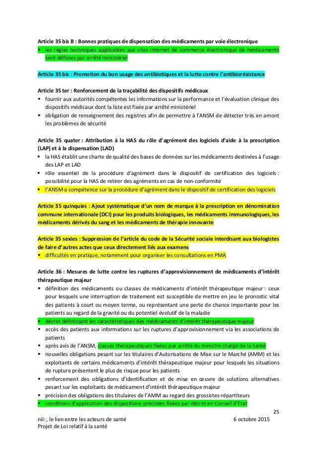 25 nile, le lien entre les acteurs de santé 6 octobre 2015 Projet de Loi relatif à la santé Article 35 bis B : Bonnes prat...