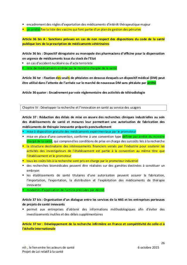 26 nile, le lien entre les acteurs de santé 6 octobre 2015 Projet de Loi relatif à la santé  encadrement des règles d'exp...