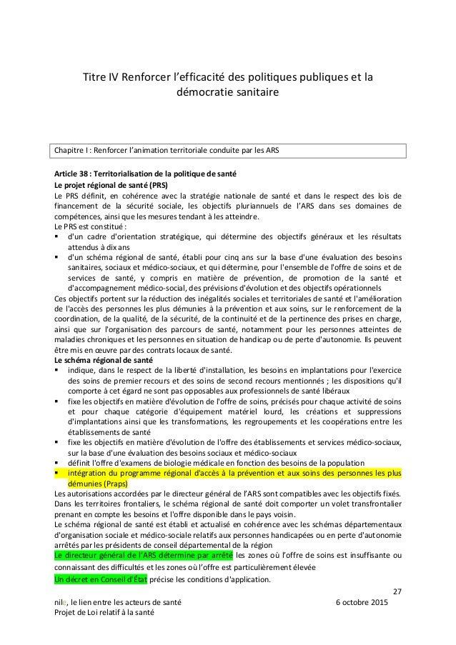 27 nile, le lien entre les acteurs de santé 6 octobre 2015 Projet de Loi relatif à la santé Titre IV Renforcer l'efficacit...