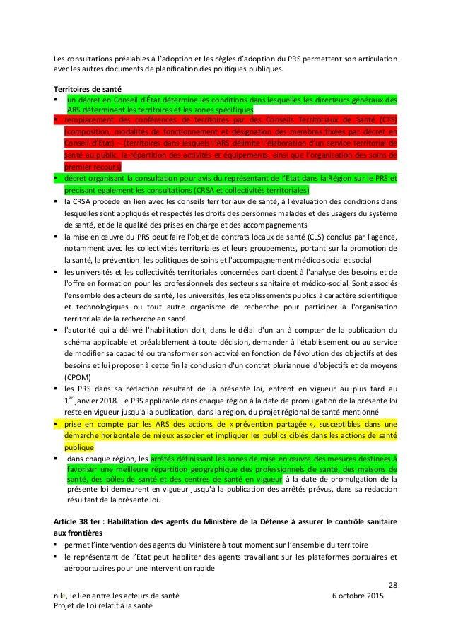 28 nile, le lien entre les acteurs de santé 6 octobre 2015 Projet de Loi relatif à la santé Les consultations préalables à...