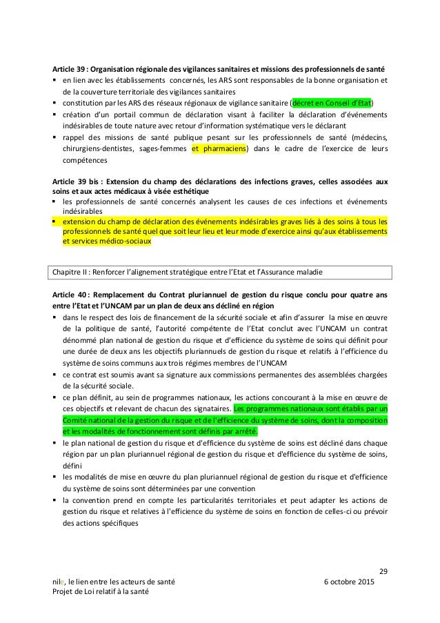 29 nile, le lien entre les acteurs de santé 6 octobre 2015 Projet de Loi relatif à la santé Article 39 : Organisation régi...