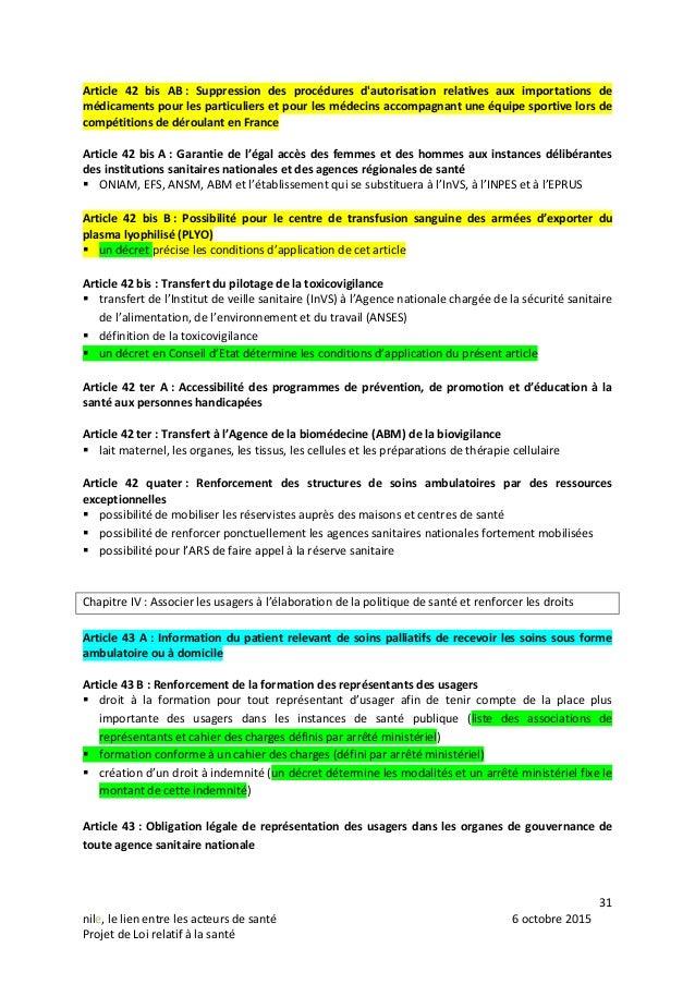31 nile, le lien entre les acteurs de santé 6 octobre 2015 Projet de Loi relatif à la santé Article 42 bis AB : Suppressio...