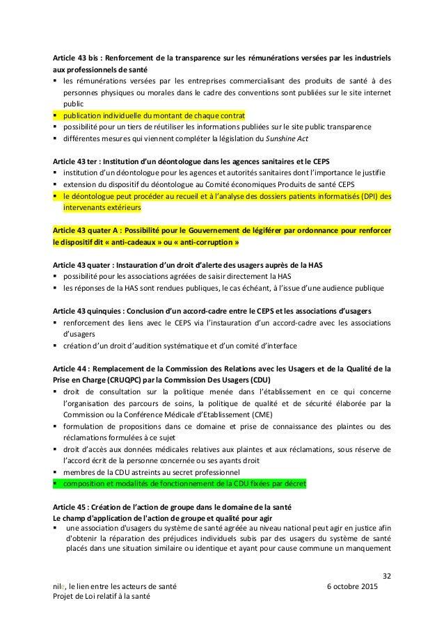32 nile, le lien entre les acteurs de santé 6 octobre 2015 Projet de Loi relatif à la santé Article 43 bis : Renforcement ...