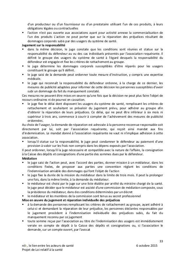 33 nile, le lien entre les acteurs de santé 6 octobre 2015 Projet de Loi relatif à la santé d'un producteur ou d'un fourni...