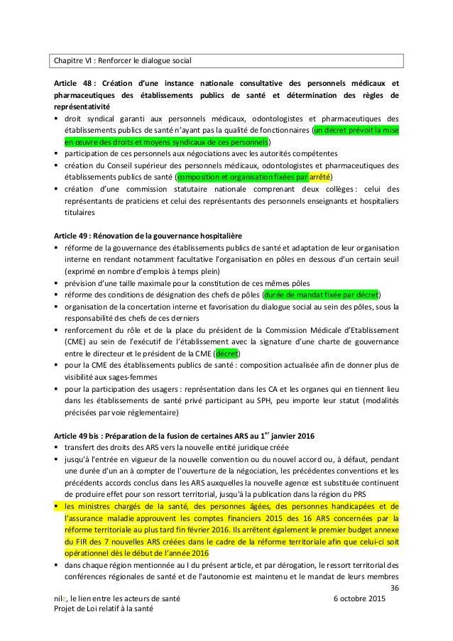 NILE projet de loi dit « relatif à la santé », adopté par le sénat le 6 octobre