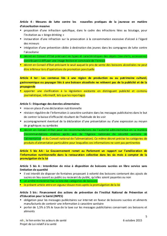 5 nile, le lien entre les acteurs de santé 6 octobre 2015 Projet de Loi relatif à la santé Article 4 : Mesures de lutte co...