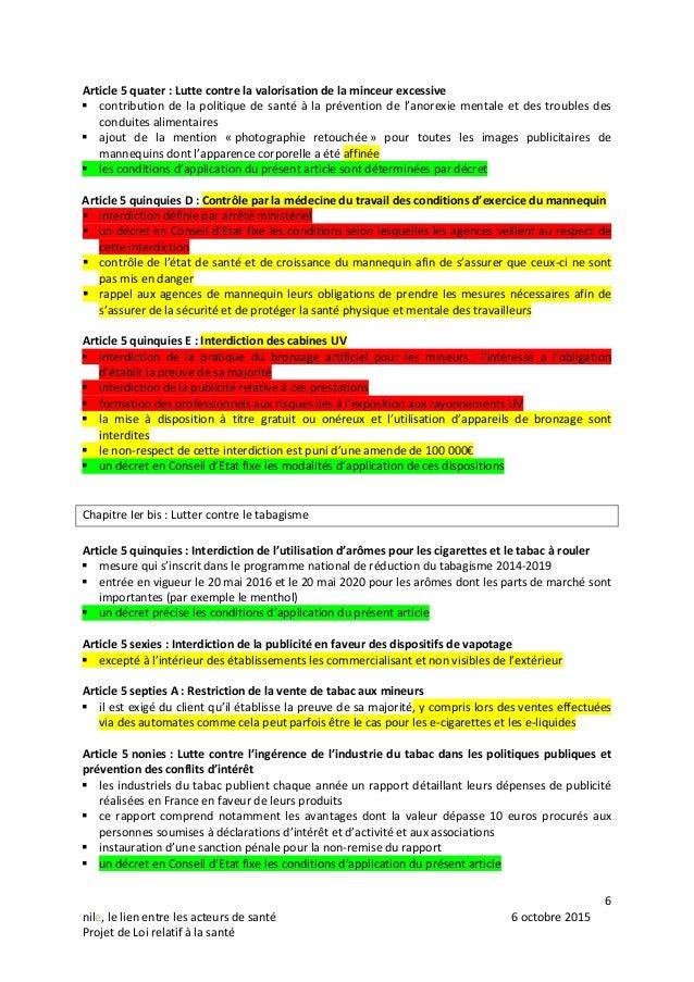 6 nile, le lien entre les acteurs de santé 6 octobre 2015 Projet de Loi relatif à la santé Article 5 quater : Lutte contre...