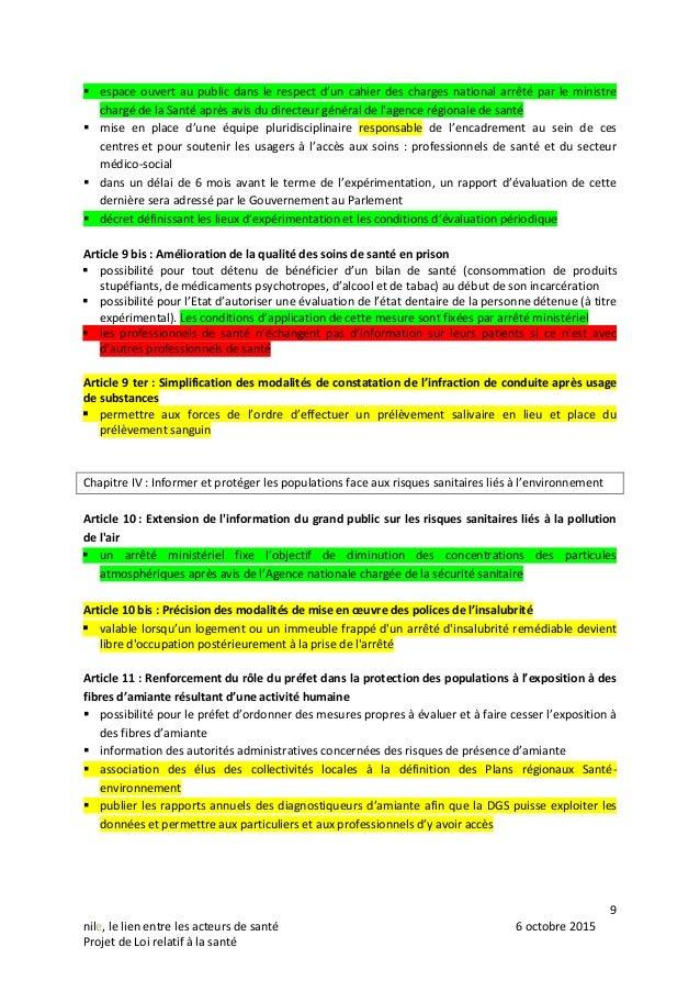 9 nile, le lien entre les acteurs de santé 6 octobre 2015 Projet de Loi relatif à la santé  espace ouvert au public dans ...