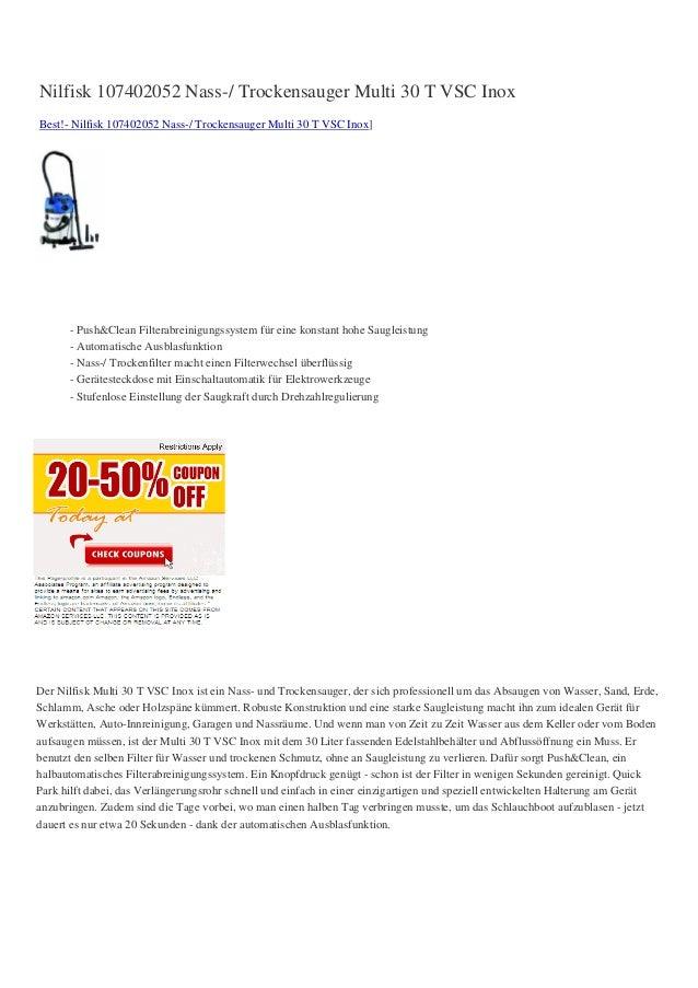 Nilfisk 107402052 Nass-/ Trockensauger Multi 30 T VSC InoxBest!- Nilfisk 107402052 Nass-/ Trockensauger Multi 30 T VSC Ino...