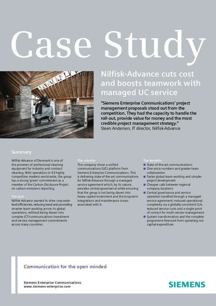 Case Study                                                                     Nilfisk-Advance cuts cost                  ...