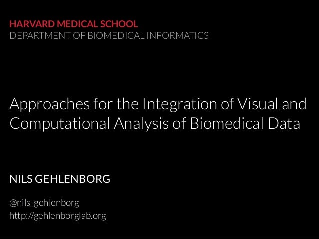 Approaches for the Integration of Visual and Computational Analysis of Biomedical Data HARVARD MEDICAL SCHOOL DEPARTMENT O...