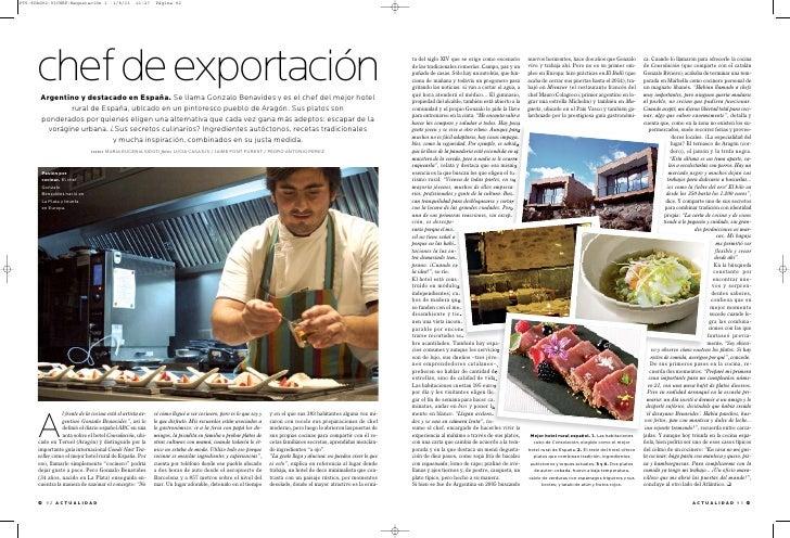 chef de exportación Argentino y destacado en España. Se llama Gonzalo Benavides y es el chef del mejor hotel              ...