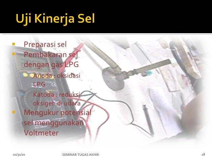 <ul><li>Preparasi sel </li></ul><ul><li>Pembakaran sel dengan gas LPG  </li></ul><ul><ul><li>Anoda : oksidasi LPG </li></u...