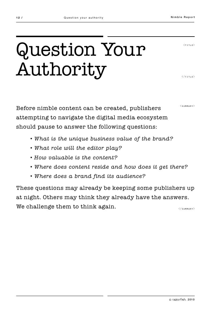 12 /               Question your authority             Nimble Report     Question Your                                    ...