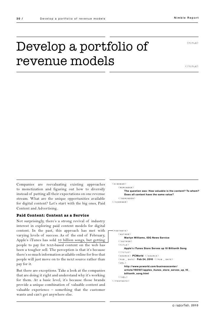 30 /           Develop a portfolio of revenue models                                                     Nimble Report    ...