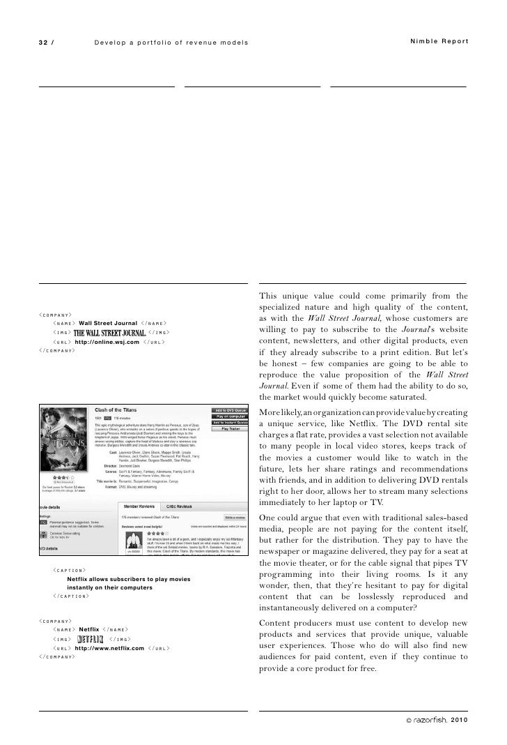 32 /             Develop a portfolio of revenue models                                              Nimble Report         ...
