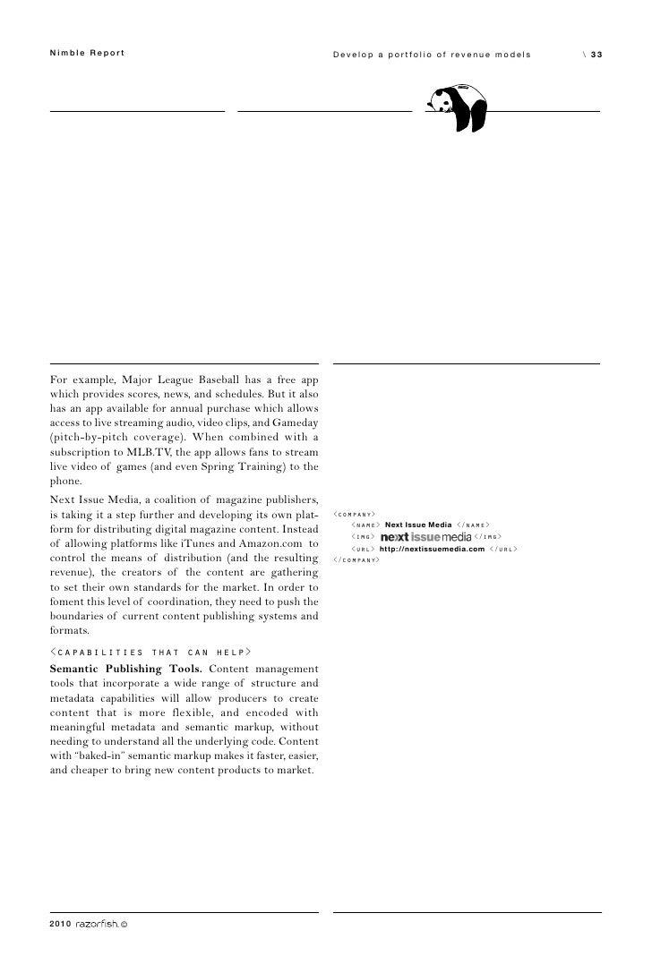 Nimble Report                                              Develop a portfolio of revenue models         33     For exampl...