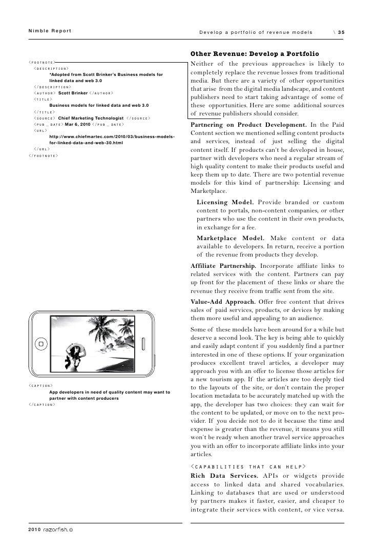 Nimble Report                                                      Develop a portfolio of revenue models              35  ...