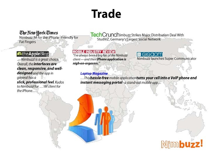 Trade<br />Nimbuzz launches Super Communicator<br />New York Times:<br />Nimbuzz IM for the iPhone - Friendly for Fat Fing...