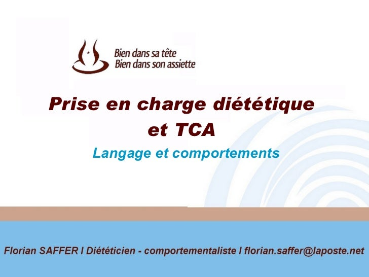 Prise en charge diététique  et TCA  Langage et comportements