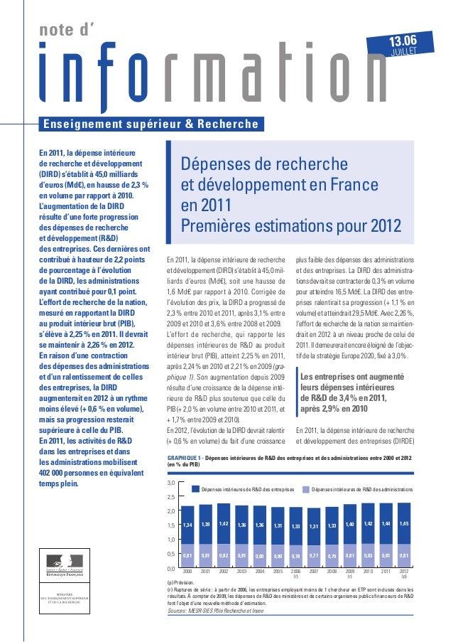 En 2011, la dépense intérieure de recherche etdéveloppement(DIRD)s'établità45,0mil- liards d'euros (Md€), soit une hausse...