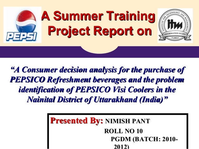"A Summer TrainingA Summer Training Project Report onProject Report on """"A Consumer decision analysis for the purchase ofA ..."