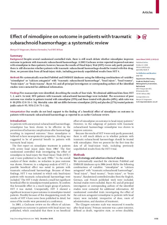 Articleshttp://neurology.thelancet.com Vol 5 December 2006 1029Effect of nimodipine on outcome in patients with traumaticsu...