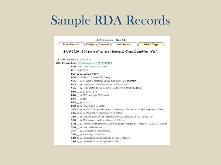 Sample RDA Records<br />